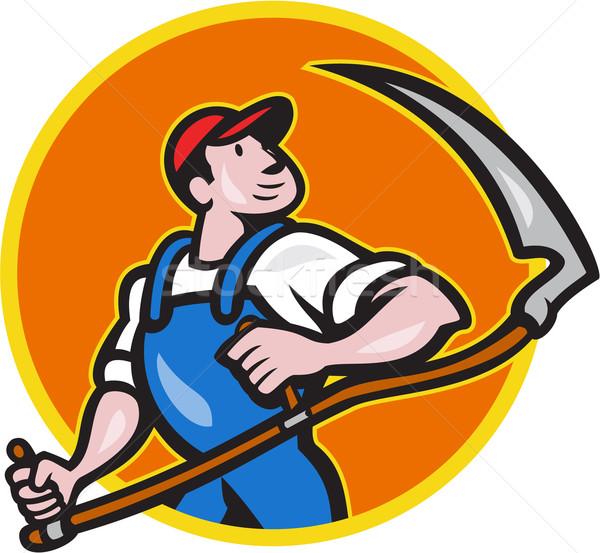 Farmer Worker Holding Scythe Circle Cartoon Stock photo © patrimonio