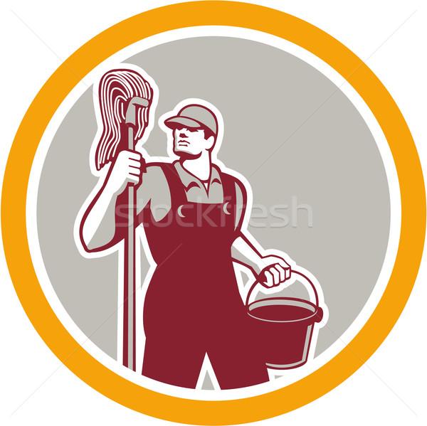 Janitor Holding Mop and Bucket Circle Retro Stock photo © patrimonio