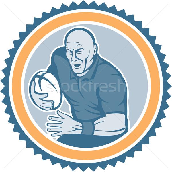 Rugby Player Running Ball Rosette Cartoon Stock photo © patrimonio