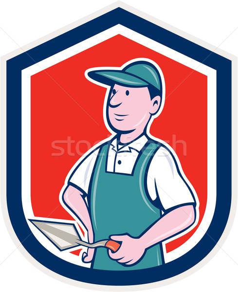 Bricklayer Mason Plasterer Shield Cartoon Stock photo © patrimonio