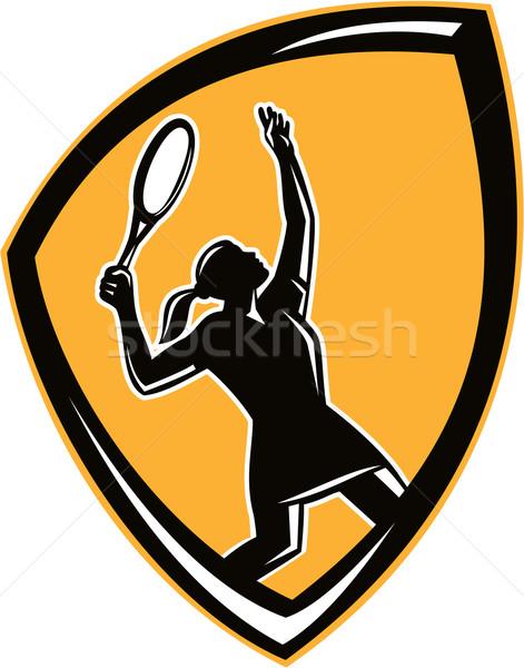 Tennis Player Female Racquet Shield Retro Stock photo © patrimonio