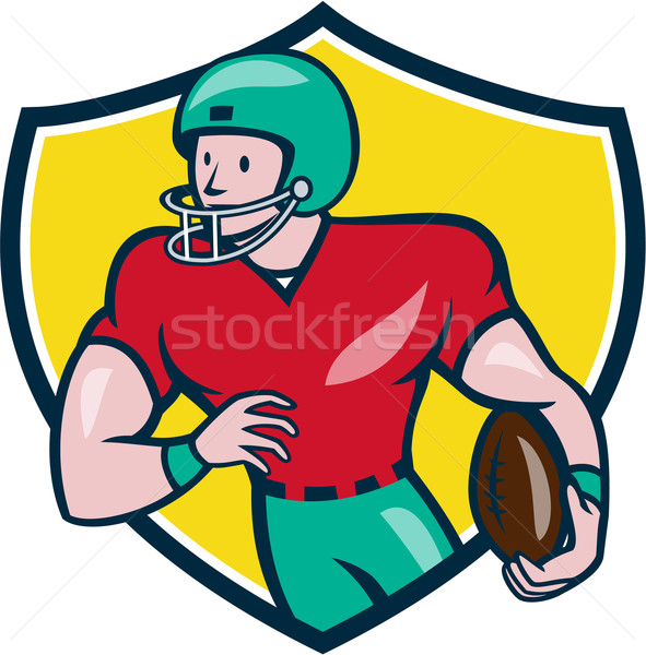American Football Receiver Running Shield Cartoon Stock photo © patrimonio