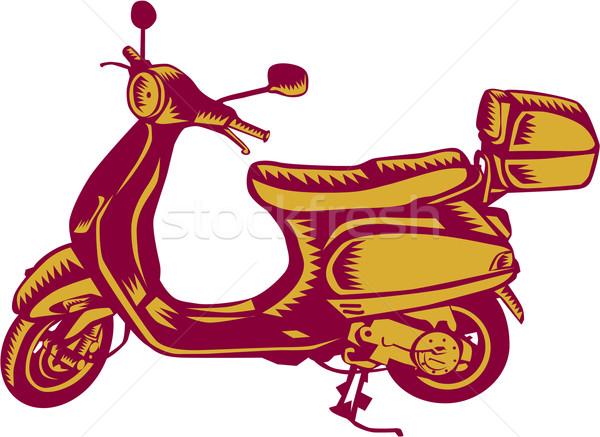 Scooter Bike Side Vintage Woodcut Stock photo © patrimonio