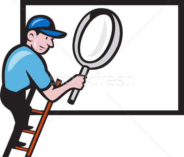 работник лестнице увеличительное стекло Billboard Cartoon иллюстрация Сток-фото © patrimonio