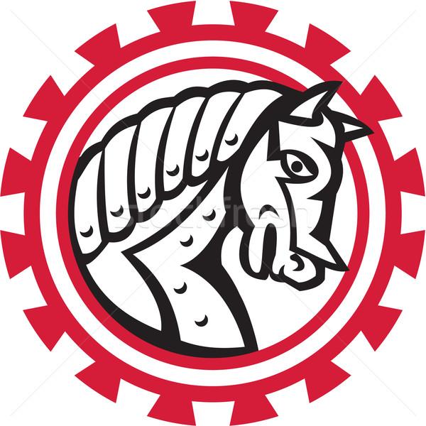 Pantser oorlog paard hoofd versnelling retro Stockfoto © patrimonio