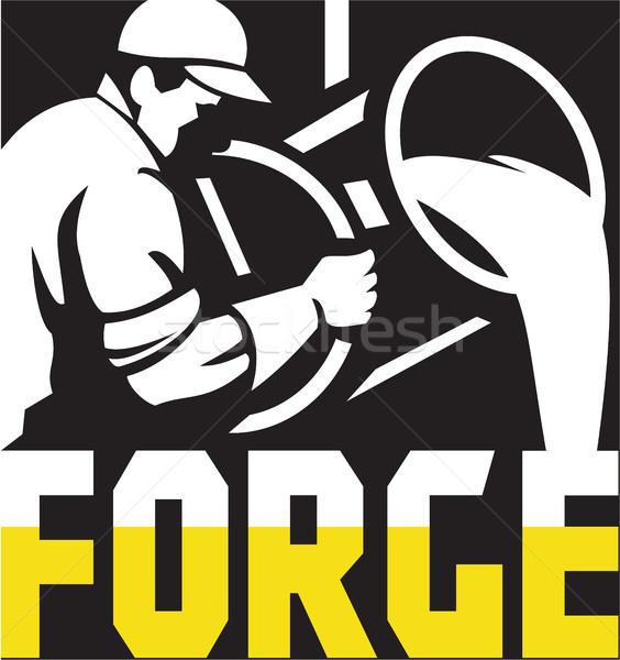 Foundry Worker Pouring Molten Metal Square Retro Stock photo © patrimonio