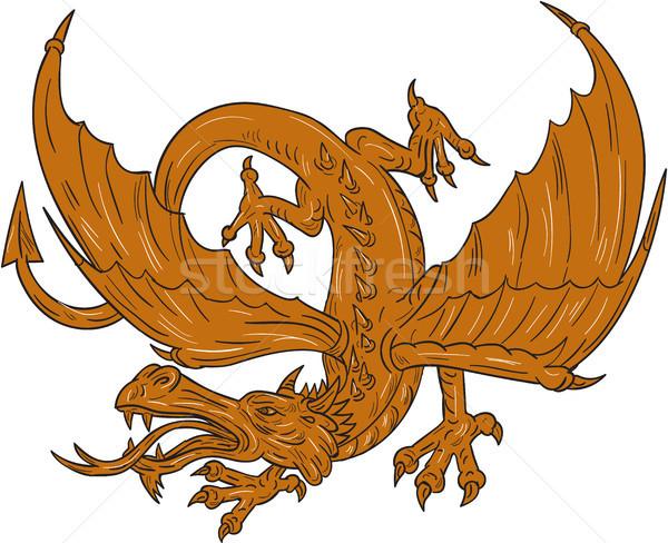 Agressive Dragon Crouching Drawing Stock photo © patrimonio