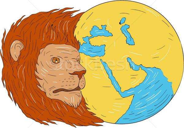 Zdjęcia stock: Lew · głowie · Bliskim · Wschodzie · asia · Pokaż · świecie