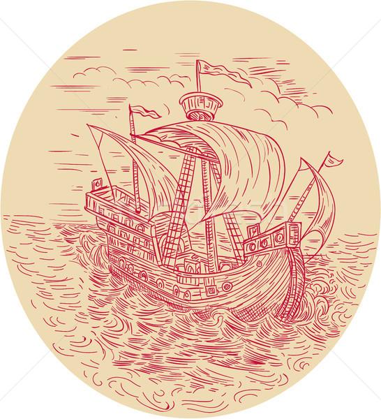 Tall Ship Sailing Stormy Sea Oval Drawing Stock photo © patrimonio