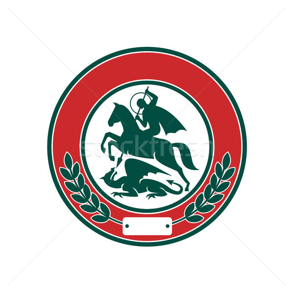 Saint George Slaying Dragon Circle Retro Stock photo © patrimonio
