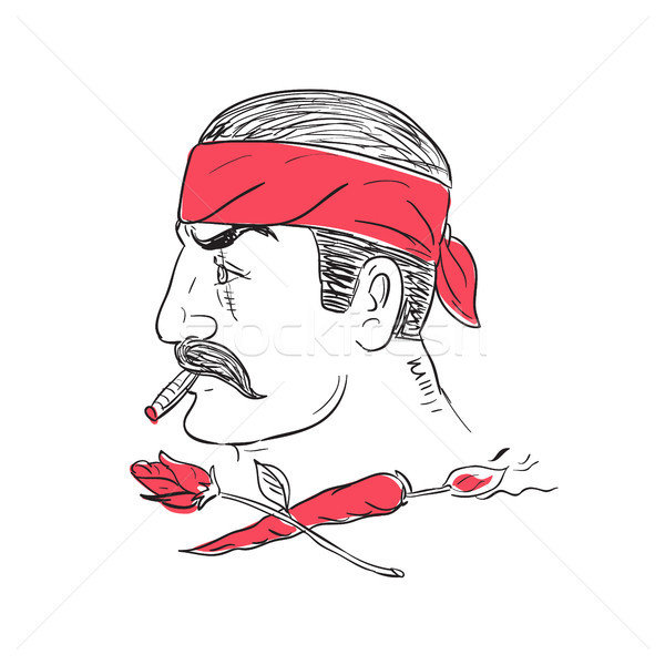 Mexican Guy Cigar Hot Chili Rose Drawing Stock photo © patrimonio