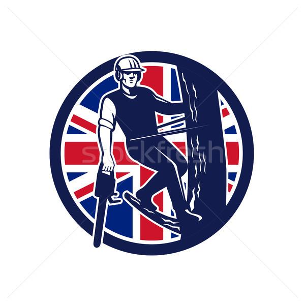 Brits union jack vlag icon retro-stijl illustratie Stockfoto © patrimonio
