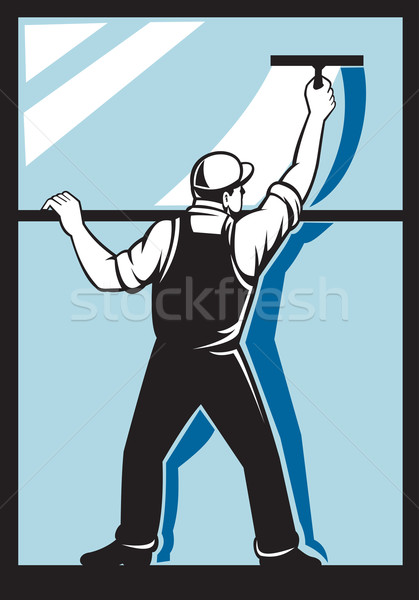 Finestra rondella lavoratore pulizia lavaggio illustrazione Foto d'archivio © patrimonio