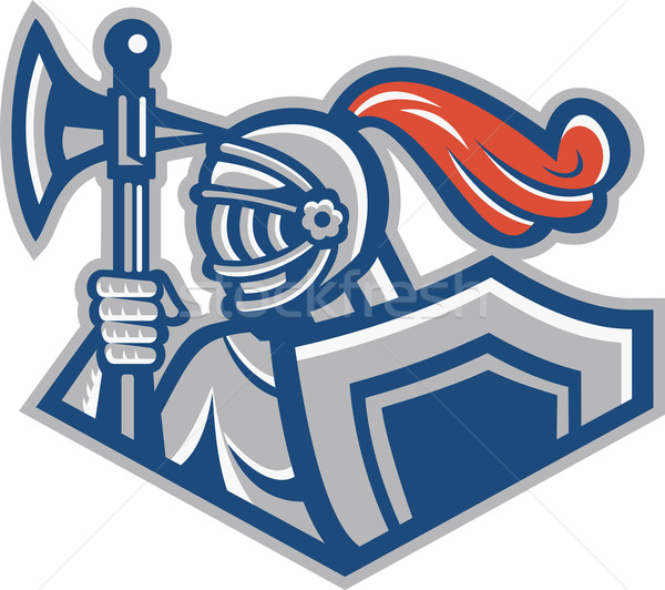 Knight With Spear Axe And Shield Stock photo © patrimonio