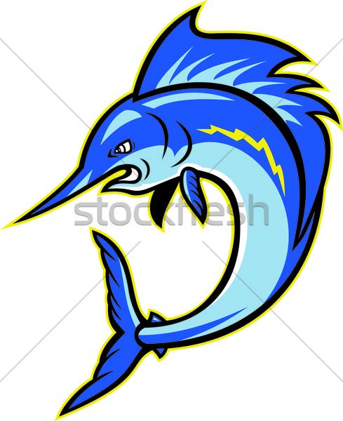 Zwaardvis springen cartoon illustratie kant geïsoleerd Stockfoto © patrimonio
