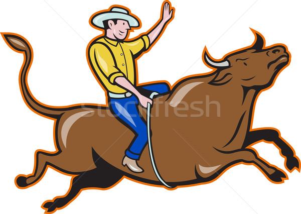 родео Cowboy бык верховая езда ретро иллюстрация Сток-фото © patrimonio