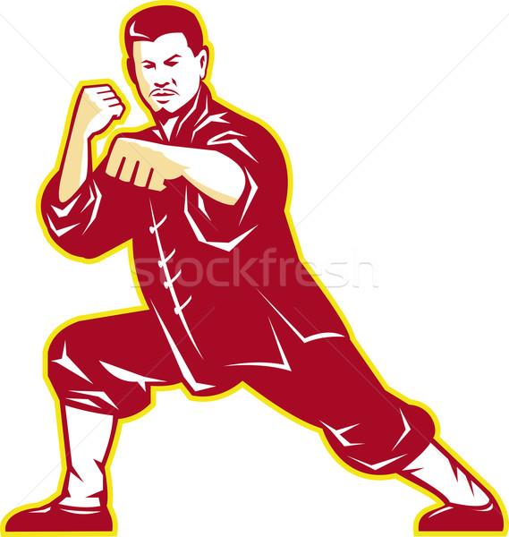 Artes marciais mestre retro ilustração karatê Foto stock © patrimonio