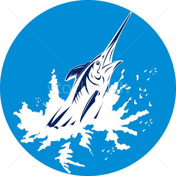 Mavi kılıçbalığı atlama örnek yan Retro Stok fotoğraf © patrimonio