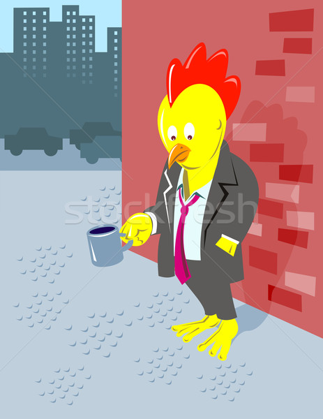 rooster chicken unemployed office worker begging Stock photo © patrimonio