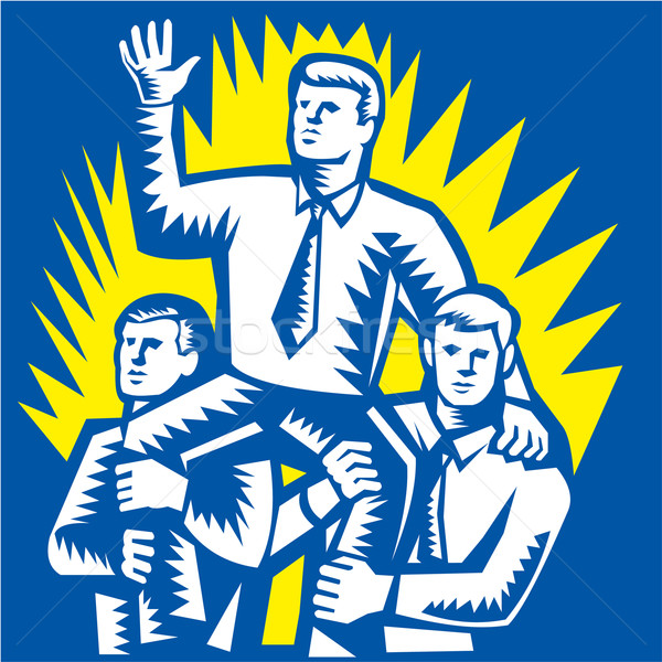 Businessman Leader Prop Up Shoulders Woodcut Stock photo © patrimonio