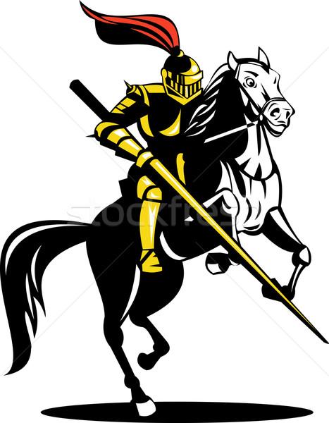 Ridder paard zwaard illustratie vol pantser Stockfoto © patrimonio