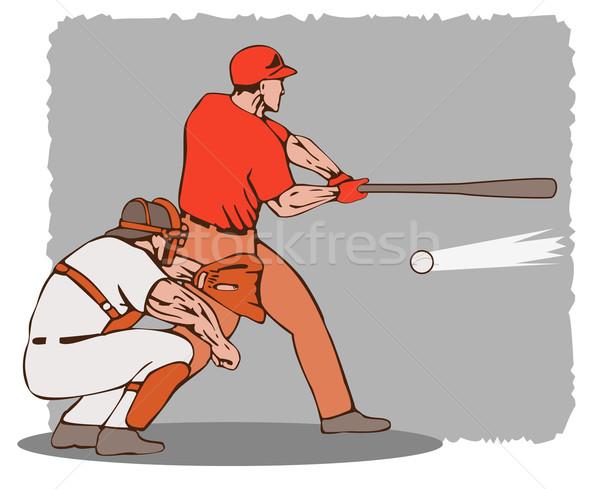 Jogador de beisebol ilustração estilo retro esportes bola caminhada Foto stock © patrimonio