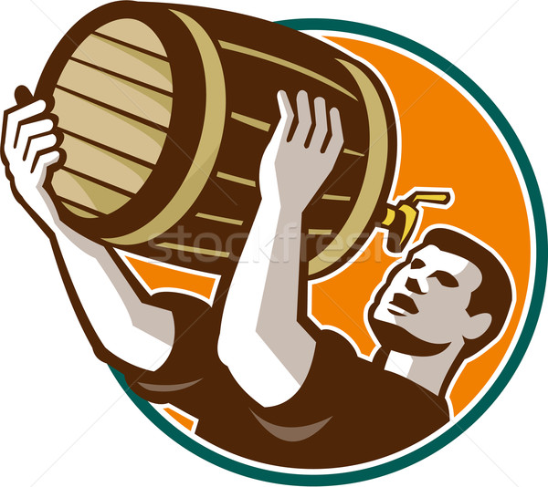 Bartender Pouring Drinking Keg Barrel Beer Retro Stock photo © patrimonio