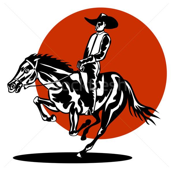 Foto stock: Rodeio · vaqueiro · equitação · cavalo · ilustração · isolado