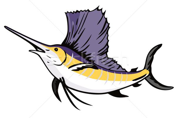 Sailfish Fish Jumping Retro Stock photo © patrimonio
