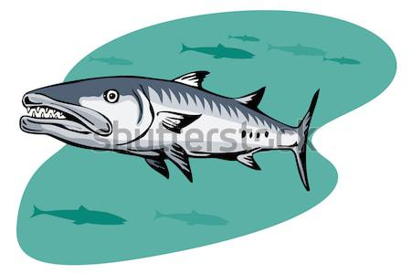 Tubarão natação ver ilustração estilo retro Foto stock © patrimonio