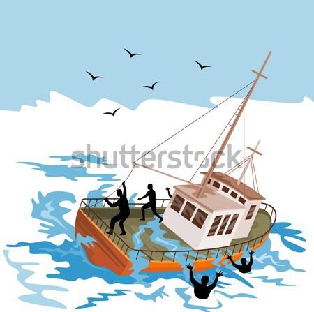 Zwaardvis springen illustratie zon vissersboot retro-stijl Stockfoto © patrimonio