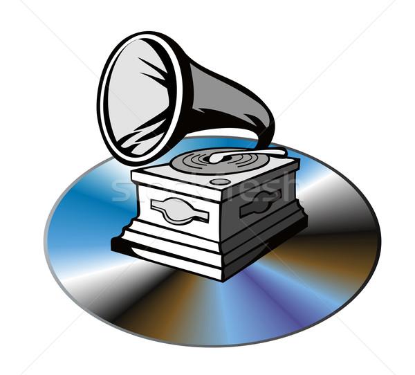 компакт-диск иллюстрация изолированный белый ретро-стиле Сток-фото © patrimonio