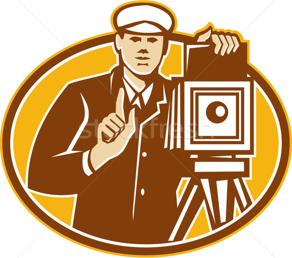 Photographer Vintage Camera Front Retro Stock photo © patrimonio
