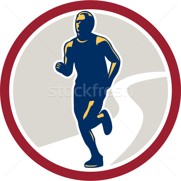 Marathon Runner Running Circle Retro Stock photo © patrimonio