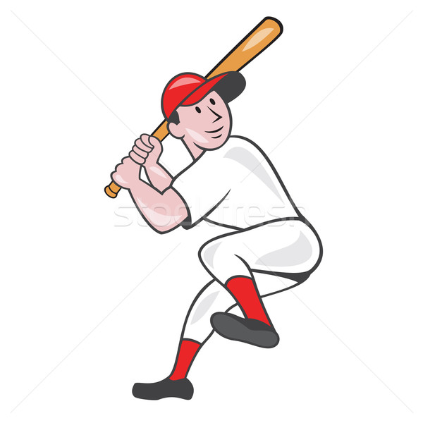Baseball Player Batting Leg Up Cartoon Stock photo © patrimonio