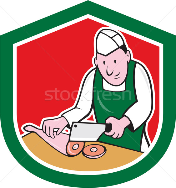 Butcher Chopping Meat Shield Cartoon Stock photo © patrimonio