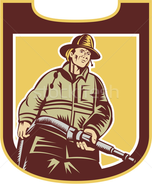 Fireman Firefighter Aiming Fire Hose Shield Retro Stock photo © patrimonio