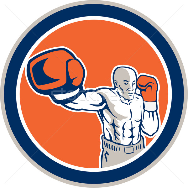 Boxer Boxing Punching Jabbing Circle Retro Stock photo © patrimonio