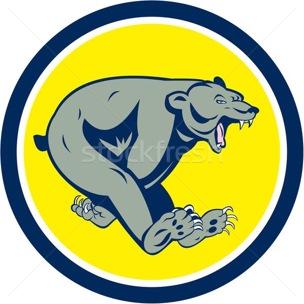Grizzly Bear Running Circle Cartoon Stock photo © patrimonio