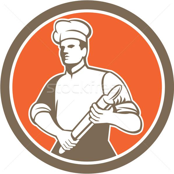 Szakács szakács sodrófa kör retro illusztráció Stock fotó © patrimonio