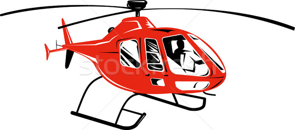 Red helicopter isolated on white background Stock photo © patrimonio