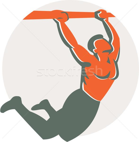Crossfit húzás felfelé bár kör retro Stock fotó © patrimonio