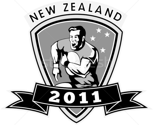 Nova Zelândia rugby jogador 2011 ilustração corrida Foto stock © patrimonio