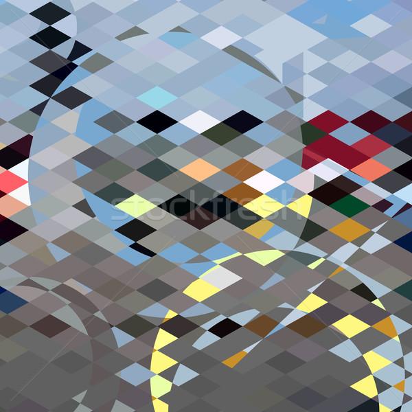 Bleu bulles résumé faible polygone style Photo stock © patrimonio