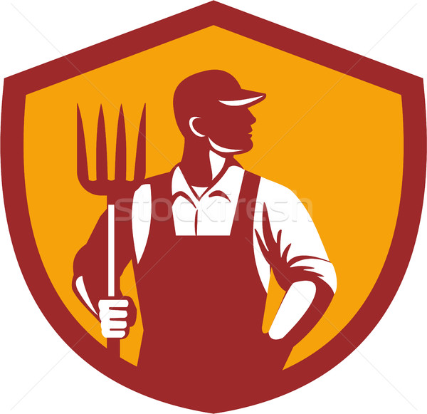 Organic Farmer Pitchfork Crest Retro Stock photo © patrimonio