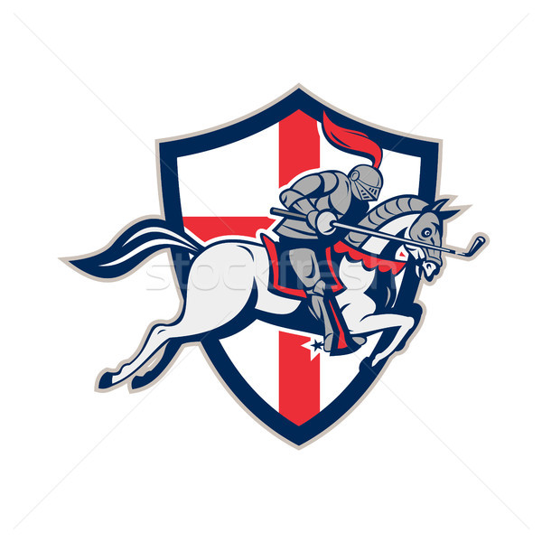 English Knight Golf Club Lance Shield Retro Stock photo © patrimonio
