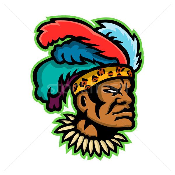 Zulu Warrior Head Mascot Stock photo © patrimonio