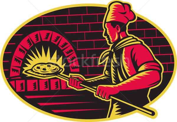Baker Baking Pizza Wood Oven Woodcut Stock photo © patrimonio