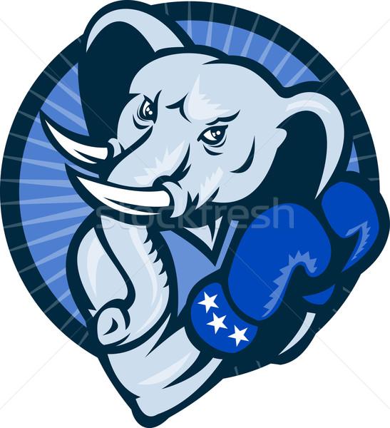 Fil boks eldivenleri demokrat maskot örnek karikatür Stok fotoğraf © patrimonio