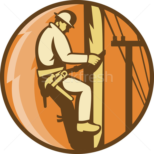 Poder eletricista escalada utilidade postar ilustração Foto stock © patrimonio